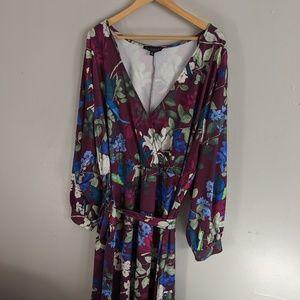 Eloquii Maxi Wrap Dress Plus Size Bird Floral